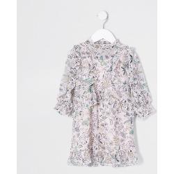 River Island Mini girls pink printed frill dress