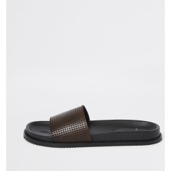 Mens River Island Brown leather sliders