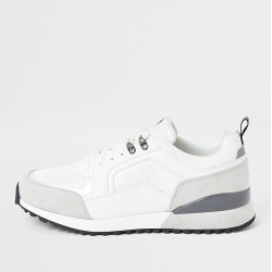 River Island Mens White lace-up runner trainers