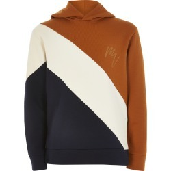 River Island Boys Beige colour blocked hoodie