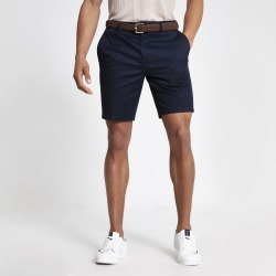 Mens River Island Navy Dylan slim fit belted shorts