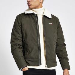 Mens Schott khaki borg collar jacket