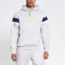 Mens River Island Prolific Grey colour blocked hoodie