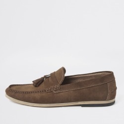 Mens River Island Brown textured suede tassel loafers