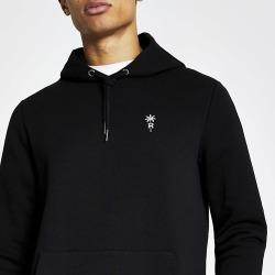 River Island Mens Black palm tree embroidered slim fit hoodie