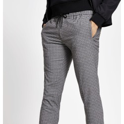 Mens River Island Grey check cuffed smart skinny joggers