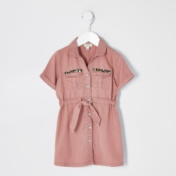 River Island Mini girls Pink tie waist shirt dress found on Bargain Bro UK from River Island - UK