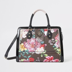 River Island Womens Brown floral RI monogram boxy tote bag found on Bargain Bro Philippines from RIver Island US for $89.00