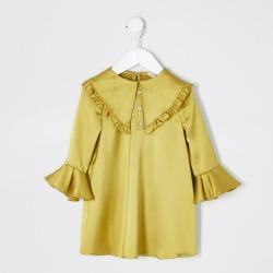 River Island Mini girls Yellow satin frill collar dress found on Bargain Bro UK from River Island - UK