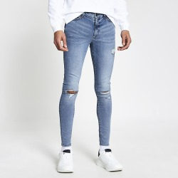 River Island Mens Blue ripped Ollie spray on skinny jeans