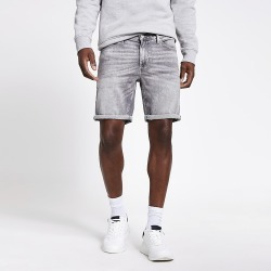 River Island Mens Grey Dylan slim fit denim shorts