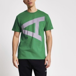 Mens River Island Arcminute Green reflective A print T-shirt