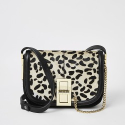 River Island Womens Black leather leopard print cross body bag