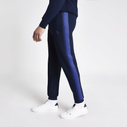 Mens River Island Maison Riviera Blue tape slim fit joggers