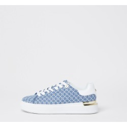 River Island Womens Blue RI monogram lace up trainers found on MODAPINS from River Island - UK for USD $59.22