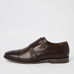 River Island Mens Dark brown leather monk strap derby shoes