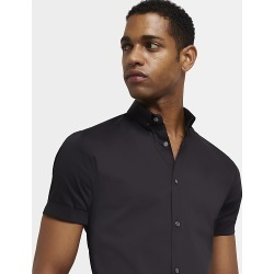 River Island Mens Black muscle fit short sleeve shirt
