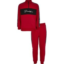 River Island Boys red Prolific tape sweatshirt outfit