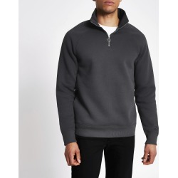 Mens River Island Grey half zip slim fit sweatshirt