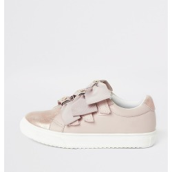 River Island Girls pink metallic bow strap trainers