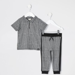 River Island Mini boys Grey check zip polo shirt outfit found on Bargain Bro UK from River Island - UK