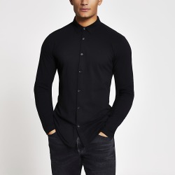 River Island Mens Maison Riviera black muscle fit jersey shirt