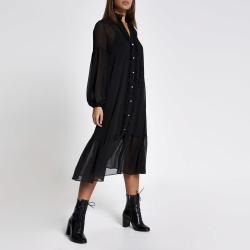 River Island Womens Black frill long sleeve midi smock dress