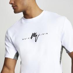 River Island Mens Maison Riviera white check blocked T-shirt