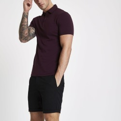 Mens River Island Dark Red essential muscle fit polo shirt