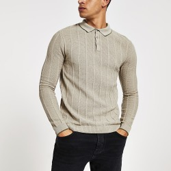 River Island Mens Stone muscle fit ribbed polo shirt