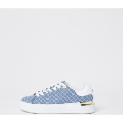 River Island Womens Blue RI monogram lace up trainers found on MODAPINS from RIver Island US for USD $78.00