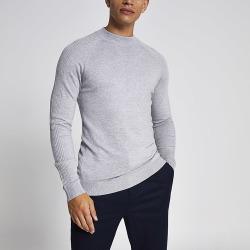 River Island Mens Grey slim fit turtle neck knitted jumper