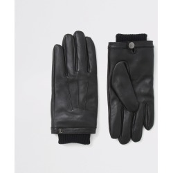 Mens River Island Black leather cuffed gloves