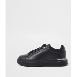 River Island Womens Black faux leather chunky lace up trainers found on MODAPINS from River Island - UK for USD $53.58