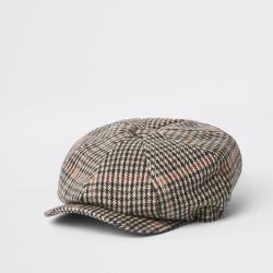 Mens River Island Light Grey check baker boy cap