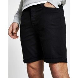 Mens River Island Black Dylan slim fit shorts
