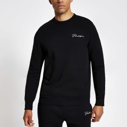 Mens River Island Prolific Black slim fit sweatshirt