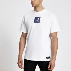 River Island Mens Prolific white logo print regular fit T-shirt