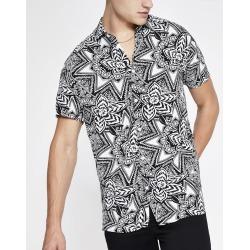 Mens River Island Selected Homme White print regular fit shirt