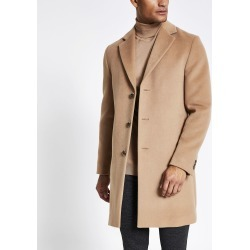Mens River Island Light Brown single breasted overcoat