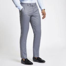 Mens River Island Light Blue slim fit suit trousers