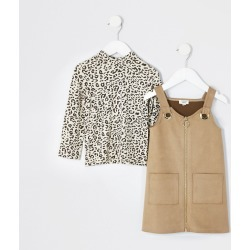 River Island Mini girls Brown suede pinafore dress outfit found on Bargain Bro UK from River Island - UK