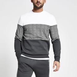Mens River Island Grey check colour blocked slim fit sweatshirt