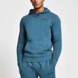 River Island Mens Prolific dark green slim fit hoodie