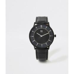 Mens River Island Black strap blue face smart watch