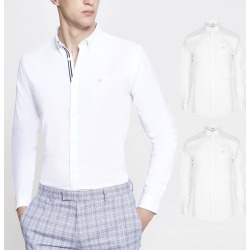 Mens River Island White muscle fit Oxford shirt 2 pack