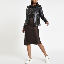 River Island Womens Brown bias cut midi skirt found on Bargain Bro UK from River Island - UK
