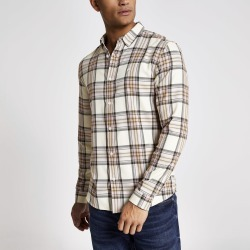 Mens River Island Beige and pink check long sleeve shirt