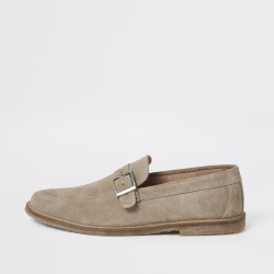 Mens River Island Ecru suede buckle strap loafers