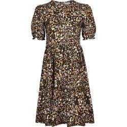 River Island Girls beige leopard print smock dress